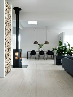 Douglas fir floor and wood burner