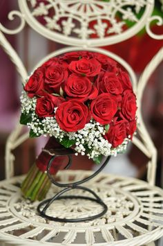 Classic bridal bouquet with red roses and white gypsophila for your special day Red Bouquet Wedding, Red Wedding, Wedding Flowers, Gypsophila, Special Day, Red Roses, Table Decorations, Bride, Classic