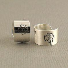 Wide Wish Sterling Silver Ear Cuff 925, Single Dandelion Cartilage Ear Cuff Earring, Sterling Silver Jewellery on Etsy, $17.85