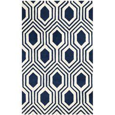Mims Hand-Tufted Dark Blue/Ivory Area Rug | Wayfair