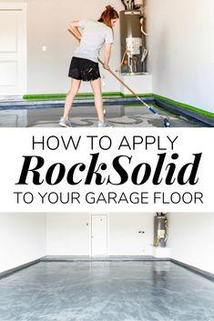How to apply a DIY epoxy floor coating in your garage. #diy #diyproject #garage #epoxyfloor #prideinthemaking #rustoleum Epoxy Floor Diy, Epoxy Floor Basement, Garage Epoxy, Garage Floor Paint, Metallic Epoxy Floor, Diy Epoxy, Rustoleum Garage Floor Epoxy, Best Garage Floor Epoxy, Ikea