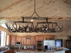 """Snowmass Mountain"" Double Tree Elk Antler Chandelier"