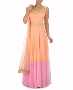 Blush Peach Long Dress with a Stole - Monika Nidhii - Designers