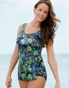 One-Piece Sarong Swimsuit — Blue Print