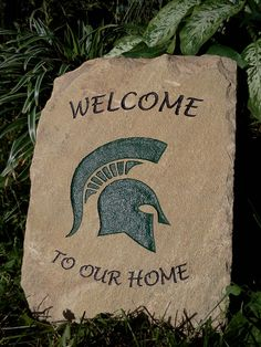 College Engraved Stone  Michigan State Spartans by ExpressiveStone    I would love one!