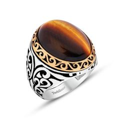 Men's Silver Ottoman Ring Tiger's Eye – Modefa USA