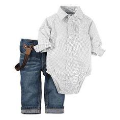 Carters Boys 2 Piece White/Grey Button Down Bodysuit and Suspender Jeans Set…
