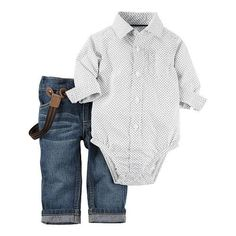 Carter's Boys 2 Piece White/Grey Button Down Bodysuit and Suspender Jeans Set…