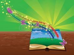 Open book with grass field, butterflies and abstract rainbow.