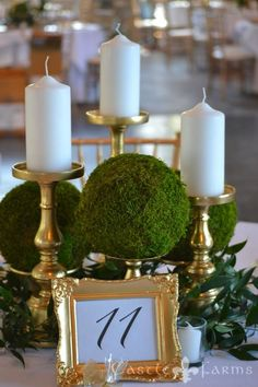 This beautiful centerpiece is made up of different sized golden candle holders, pillar candles, moss balls, and some greenery tucked within. The Knight's Castle looked breathtaking with these elegant touches.