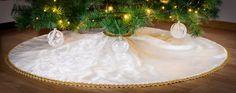 Christmas Holiday Tree Skirt Custom Made by KakaduDesign on Etsy Holiday Tree, Christmas Holidays, Christmas Tree, Holiday Decor, Sewing Studio, Covered Buttons, Damask, Custom Made, Skirts
