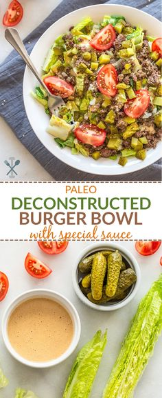 This paleo deconstructed burger bowl with special sauce is a healthy dairy free and grain free version of a Big Mac! via This paleo deconstructed burger bowl with special sauce is a healthy dairy free and grain free version of a Big Mac! Dairy Free Bread, Dairy Free Snacks, Dairy Free Breakfasts, Dairy Free Diet, Dairy Free Recipes, Diet Recipes, Healthy Recipes, Paleo Bread, Paleo Pancakes