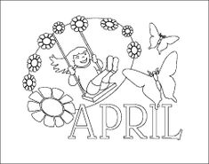 Months of the Year Printable Coloring Pages, April calendar sheet
