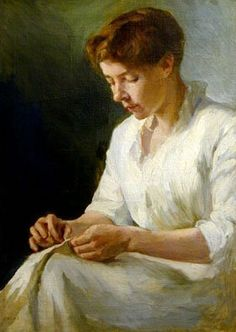 *Woman Sewing, Caroline Augusta Lord, ca. late 1890s*
