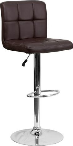 Special Offers - 2 Pk. Contemporary Brown Quilted Vinyl Adjustable Height Bar Stool with Chrome Base - In stock & Free Shipping. You can save more money! Check It (April 30 2016 at 08:01PM) >> http://kitchenislandusa.net/2-pk-contemporary-brown-quilted-vinyl-adjustable-height-bar-stool-with-chrome-base/