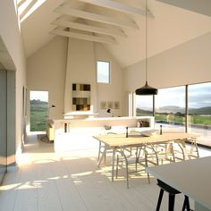 New Family house overlooking the sea. Planning received May 2015 Modern Bungalow House, Rural House, Bungalow House Plans, Bungalow Designs, Vaulted Ceiling Kitchen, Roof Ceiling, House Designs Ireland, Open Plan Kitchen Dining Living, Ireland Homes