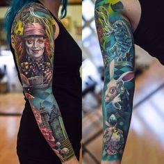 Tattoo artist Martin Sjöberg, color and black&grey authors surrealistic realistic tattoo Full Sleeve Tattoo Design, Full Body Tattoo, Body Tattoos, Girl Tattoos, Disney Sleeve Tattoos, Full Sleeve Tattoos, Sleeve Tattoos For Women, Tattoo Design Drawings, Tattoo Designs