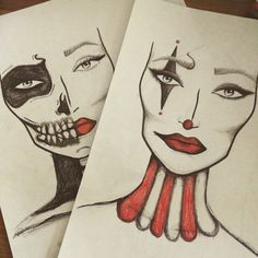 A couple of simple Halloween face charts #halloween #clown #makeup #skeleton…