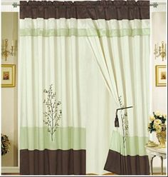 """Octorose ® Pair of Sage Green / Brown / Beige Embroidery Design Window Curtain / Drapes / Panels with Sheer Linen Valance and Tieback by OctoRose. $39.99. Color: Sage / Brown / Beige embroidery. Size: Two 60"""" Wide x 84""""Long Panels /Drapes. Care: Machine Wash Cold. We have this design in  Queen, King  comforter set and matching window curtain. Material: bamboo nod 100% polyester, polyester back linen. Please find comforter set in Queen King and matching window curtain i..."""