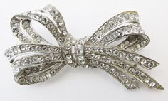 Beautiful Vintage 1930s Rhodium Plated Rhinestone by GildedTrifles