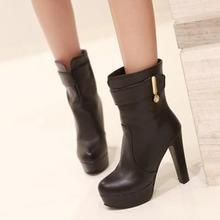 JY Shoes - Belted Platform Heeled Short Boots