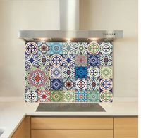 Moroccan Tiles glass splashback - good for just the cooker, but what about behind the sink? Tiles, Kitchen Wall Tiles, Kitchen Remodel, Glass Splashback, Printed Glass Splashbacks, Glass Tile, Morrocan Decor, Kitchen Design, Moroccan Tiles Kitchen