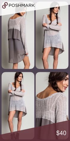 ❣NEW❣ Gray Layered Back Sheer Knit Front Tunic Top Brand new sheer knit front and layered back tunic. Sizes S M L and runs true to women's sizes. Oversized look. Perfect for chilly summer nights or for the fall! Ships 7/28. Tops Tunics