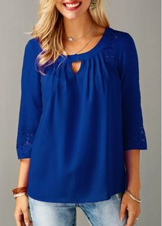 Laser Cut Three Quarter Sleeve Keyhole Neckline Blouse | Rosewe.com - USD $31.40