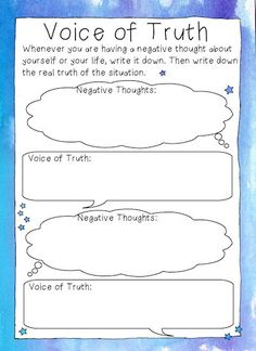 Free printable 'Voice of Truth' CBT-style worksheets for examining negative beliefs about oneself/one's life vs the truth.