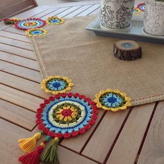 [New] The 10 Best Home Decor (with Pictures) - Decorate your outdoor dining table with our one of a kind colorful yet simple square runner pick your colors and DM us with your order Crochet Mandala, Crochet Motif, Crochet Designs, Crochet Doilies, Crochet Flowers, Crochet Stitches, Knit Crochet, Crochet Patterns, Tapete Crochet