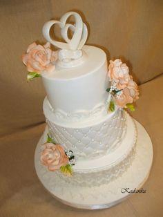 Svadobná s marhuľovými ružami 2, Wedding cakes, Autorka: Kadanka