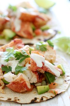 These lobster tacos are made with steamed chunks of lobster meat, avocado and pico de gallo, topped with a spicy poblano crema. If you want to step up your fish taco game, you need these in your life!