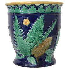 Victorian Majolica Garden Pot. England. Adams.