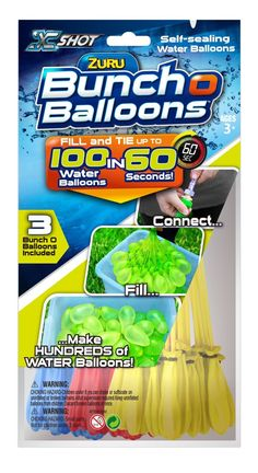 Amazon.com: Zuru Bunch O Balloons, 3 different colors, Fill in 60 Seconds, 100 Total Water Balloons: Toys & Games