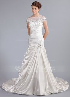 Trumpet/Mermaid Scoop Neck Cathedral Train Satin Tulle Wedding Dress With Ruffle Lace Beading Sequins (002025338) - JJsHouse