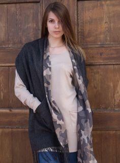 Two pocket merino shawl