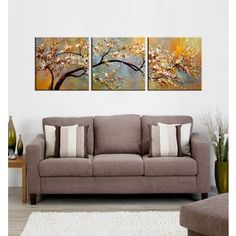 Studio 212 'Autumn Muse' 30x60-inch Textured Canvas Triptych Art Print | Overstock.com Shopping - The Best Deals on Gallery Wrapped Canvas