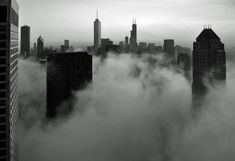 Chicago- Foggy Loop Skyline in B&W by Doug Siefken