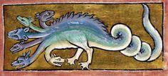 hydraBestiary, England ca. 1200-1210.  British Library, Royal 12 C XIX, fol. 13r