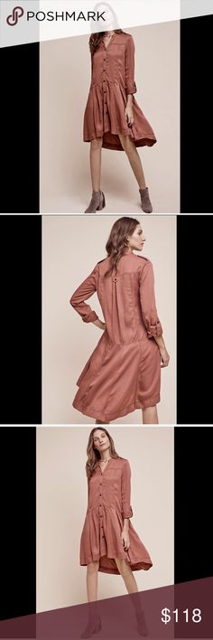 """Anthropologie blush pink Oversized Button Front 8 Anthropologie Holding Horses blush pink Oversized Button Front Swing Dress Jacket draft weighty swingy easy dress with Holding Horses signature blend of rustic & femme high low silhouette * button front can be worn open as a jacket / duster with tab long sleeves New With Tags  *  Size :   8 retail price :  $138.00  100% tencel  measures: 41"""" around bust  46"""" around drop waist 35"""" long in front middle 42"""" long in back Anthropologie Dresses"""