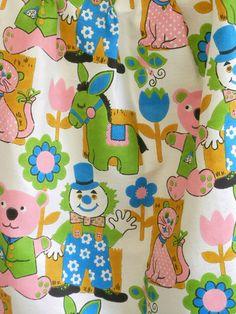 vintage 1960s nursery curtain fabric