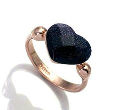 NEW 18K Gold Italina brand good quality Dark blue Heart design jewelry rings women statement jewellery -- Want to know more, click on the image.