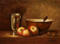 Still life for kitchen or dining room Original oil painting La timbale d'argent .  color : gold and silver