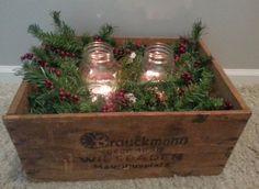 Rustic Christmas Decor with mason jars