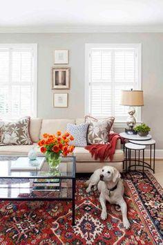 Oriental rug, lighter sofa, BM Revere Pewter walls