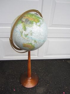 Vintage Mid Century Standing  Replogle Globe Floor stand stereo relief | thecountrybarn - Home Decor on ArtFire World Globes, Bunting Banner, Table Linens, Wood Signs, Colonial, Mid Century, Flooring, Antiques, Vintage