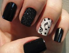 NAILS of music notes with stars - BLACK and WHITE nail polish