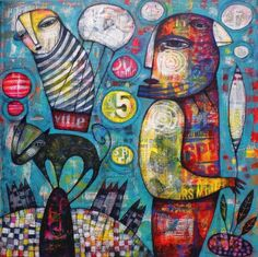 Self-taught artist Dan Casado, gallery of artworks, acrylic paintings, drawings and collages. Balloon Flights, Views Album, My Images, Folk Art, Dan, Balloons, Art Gallery, Art Pieces, Abstract