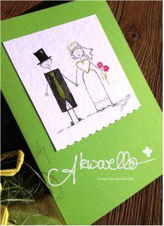 Glückwünsche zur Hochzeit by Akwarello #wedding #Karten #Brautpaar #grün #greetingcards #congratulation #felicitation