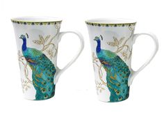 "Amazon.com | 222 Fifth Peacock Latte Mugs - Set of 2 - Approximately 6 1/4"" Tall: Coffee Cups & Mugs"
